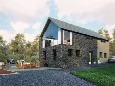 3D of modern barn conversion