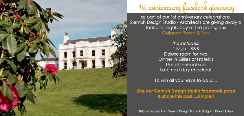ballymena architects anniversay galgorm resort and spa give-away