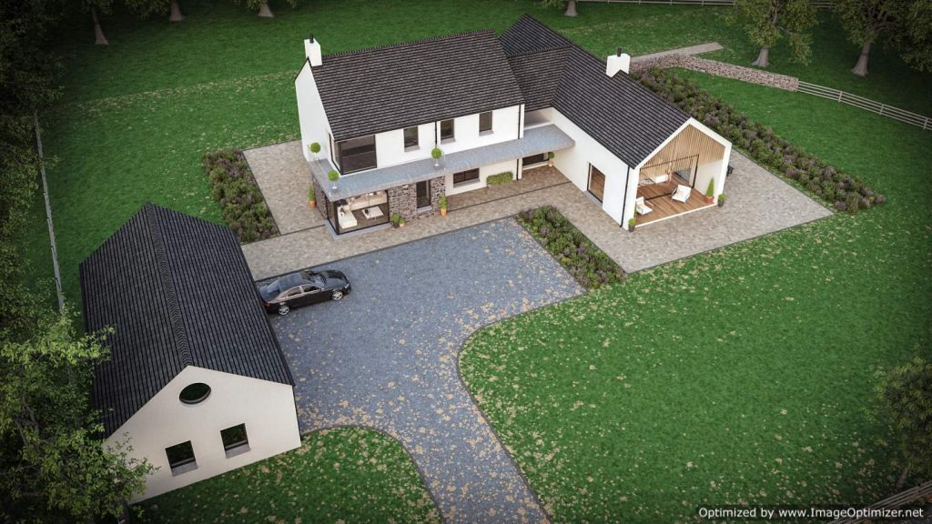 modern house on building site