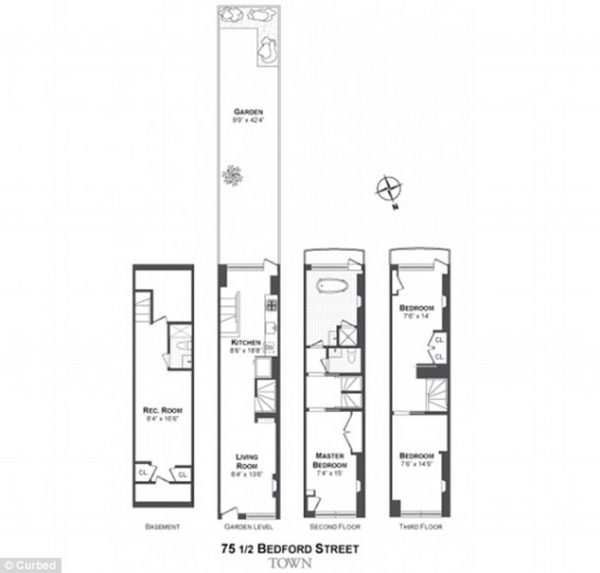 75 ½ Bedford Street floor plans