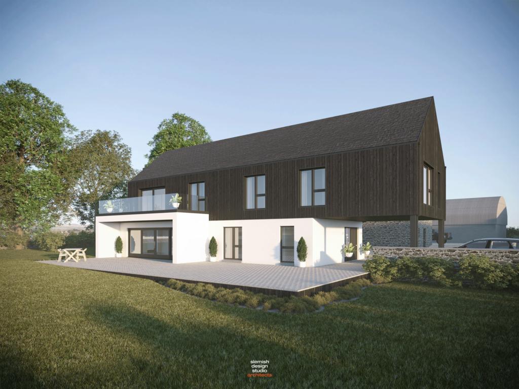 modern house with barn conversion ballymena northern ireland