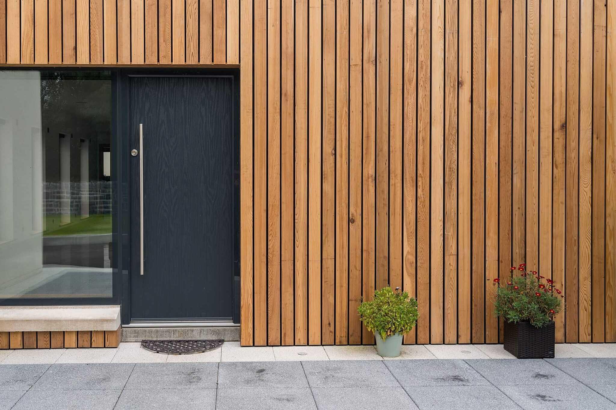 western cedar timber clad entrance