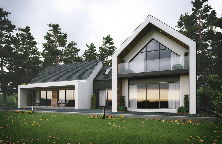 Modern House with glazed balcony and covered area