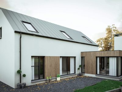 single story house with timber cladding