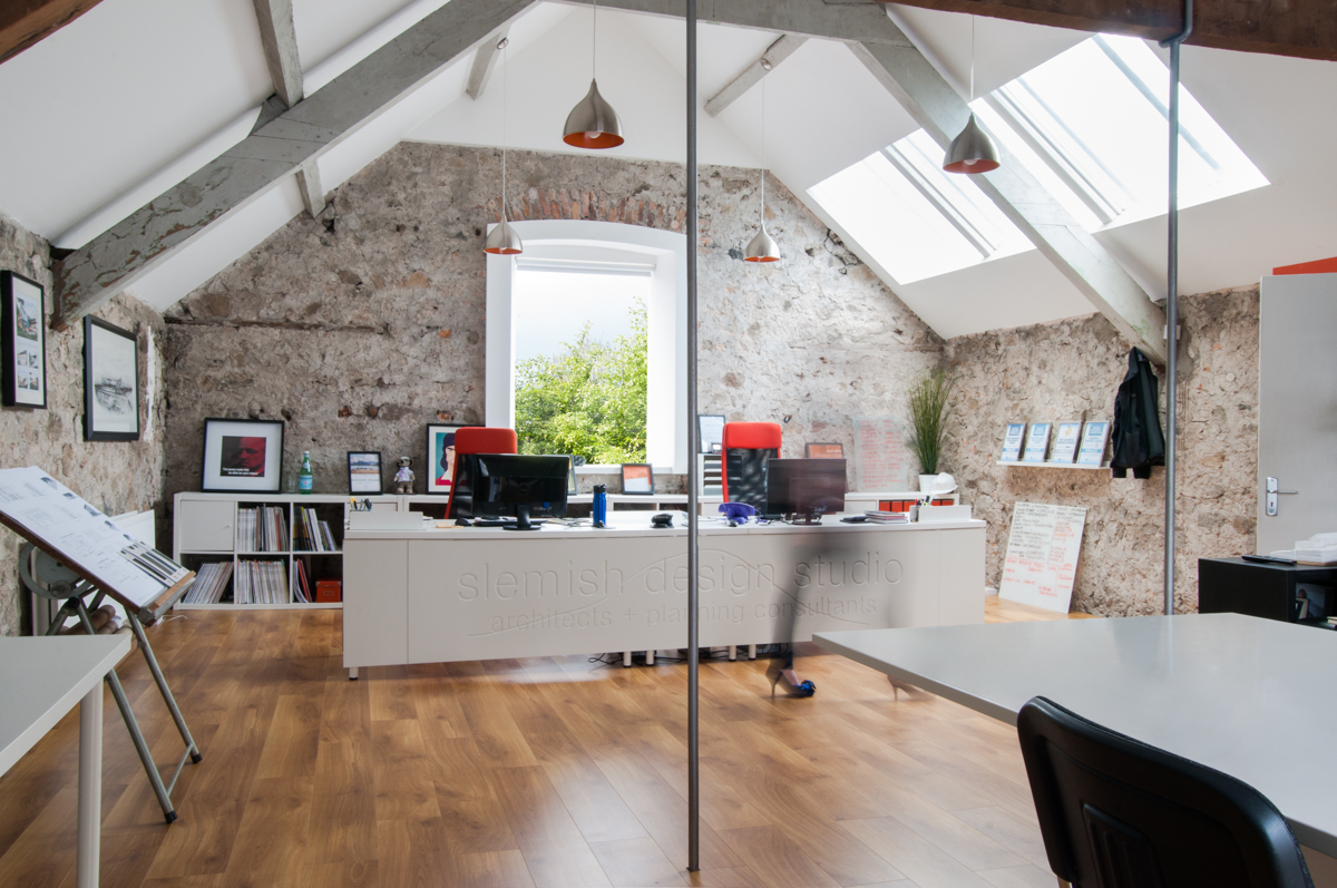 Modern open plan office for architects in ballymena for Office design northern ireland
