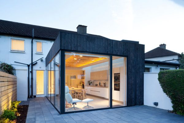 modern house extension charred timber cladding