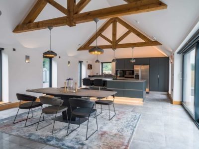 modern open plan dining and kitchen area