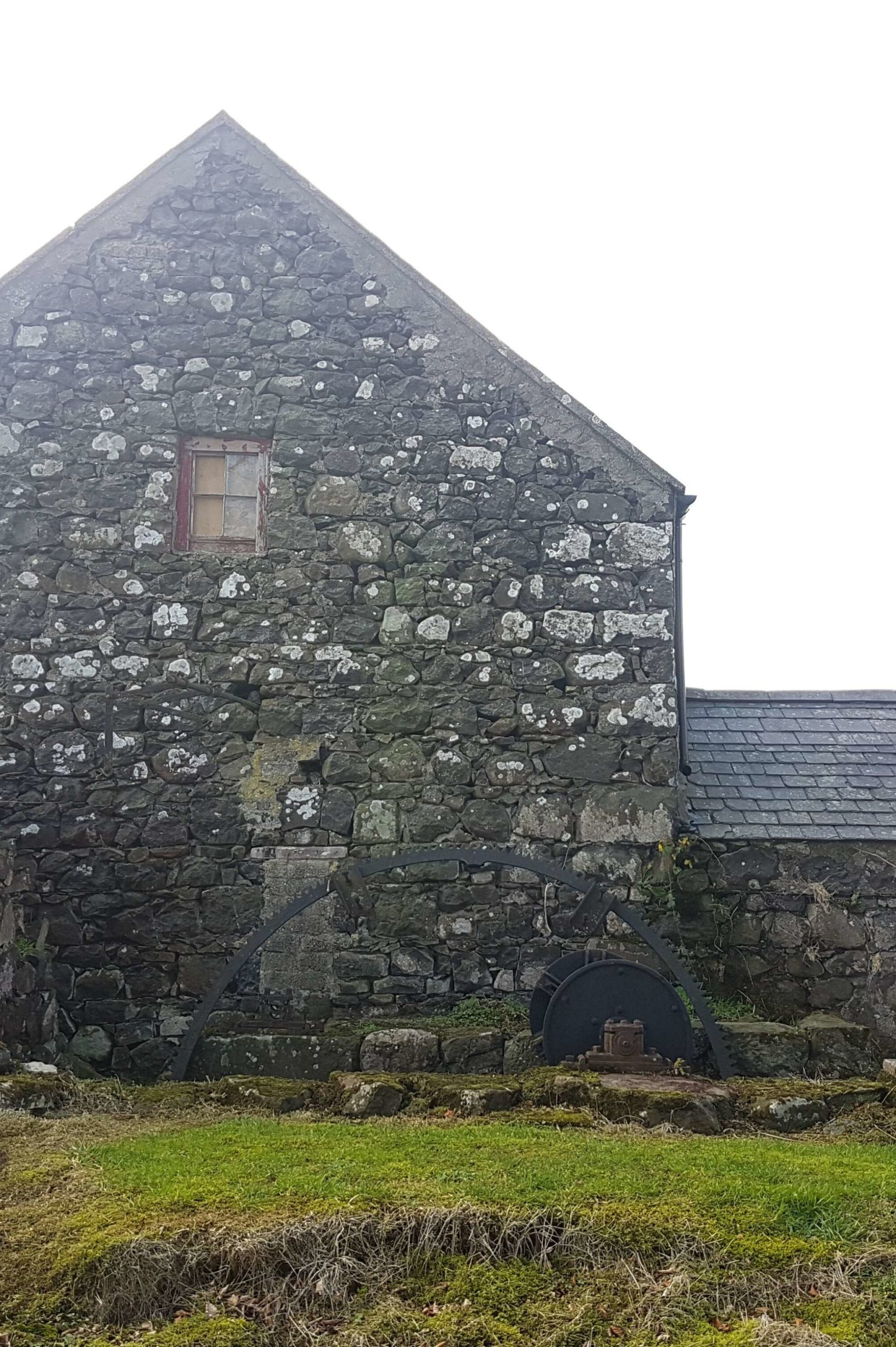 barn with water wheel